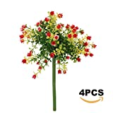 Greatflower Pack of 4 Plastic Artificial Flower Bouquet Garden Home Decoration