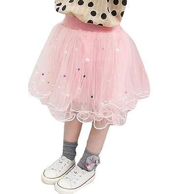 H&E - Falda tutú de Malla elástica para niñas Grandes Rosa Rosa 4 ...