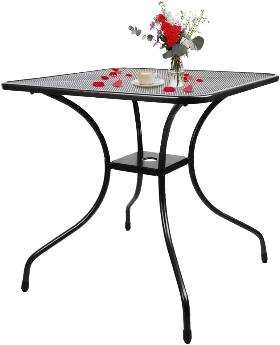 BANIROMAY Outdoor Patio Bistro Dining Table with 2 Inch Umbrella Hole, 28 Inch All Weather Modern Cast Iron Balcony Garden Furniture Coffee Table