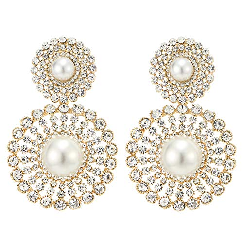 Wedding Rhinestone Synthetic Pearl Cluster Large Circle Flowers Long Drop Statement Earrings Elegant