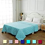 CottonTex Reversible Super Soft Bedspread Aqua Teal,Full/Queen Size 86x86 inches Diamond Pattern Lightweight Hypoallergenic Microfiber Bed Coverlet Alternative Quilt