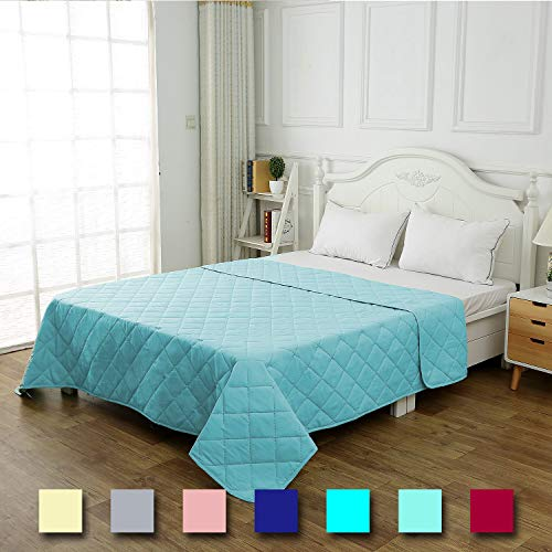 CottonTex Reversible Super Soft Bedspread Aqua Teal,Twin Size 68x86 Inches Diamond Pattern Lightweight Hypoallergenic Microfiber Bed Coverlet Alternative Quilt