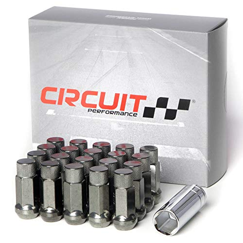 (Circuit Performance Forged Steel Extended Hex Lug Nut for Aftermarket Wheels: 12x1.5 Hyper Black - 20 Piece Set + Tool)