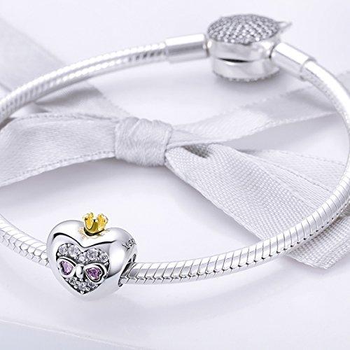 BAMOER Sterling Silver Heart of Princess Love CZ Bead Charm for DIY Snake Chain Bracelet by BAMOER (Image #2)