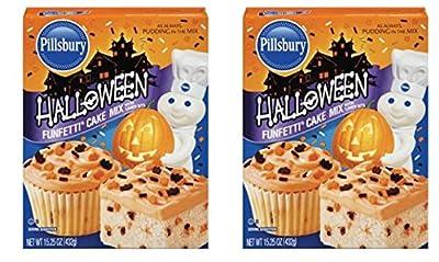 2 Pack of Pillsbury Funfetti Halloween Cake Mix, 15.25 Ounce (Makes 48 cupcakes)