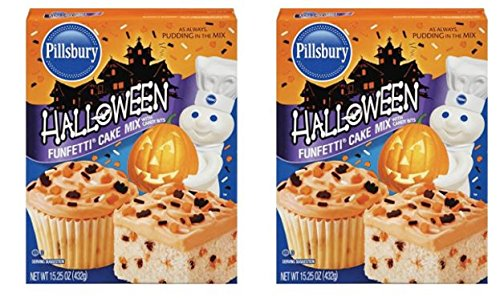 2 Pack of Pillsbury Funfetti Halloween Cake Mix, 15.25 Ounce (Makes 48 (Cake Mix Halloween)