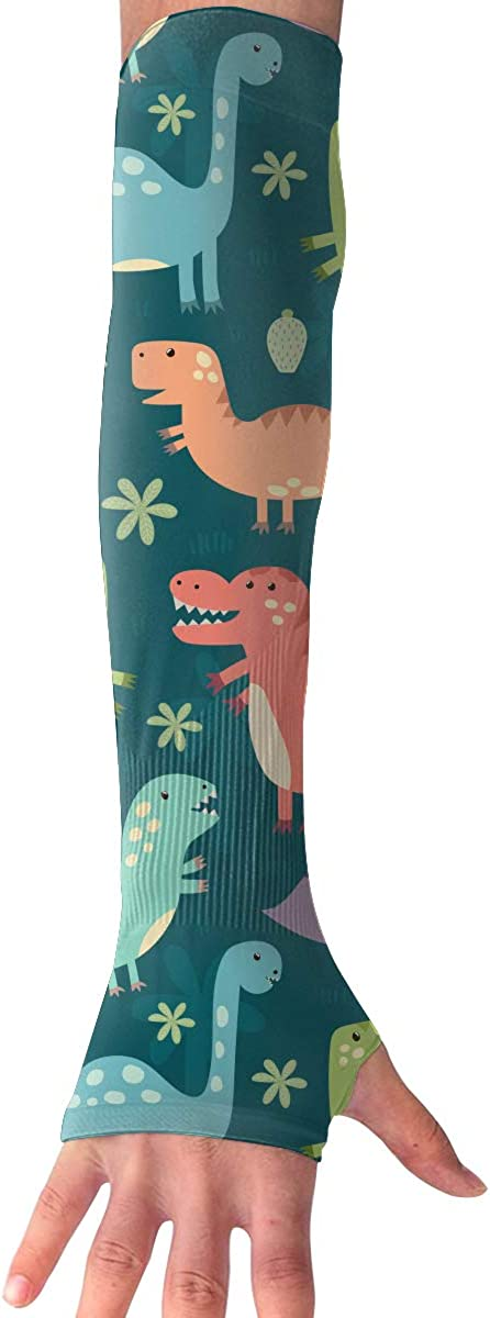 Outdoor Sun Protective Arm Sleeves Dinosaur Anti-UV Long Fingerless Gloves