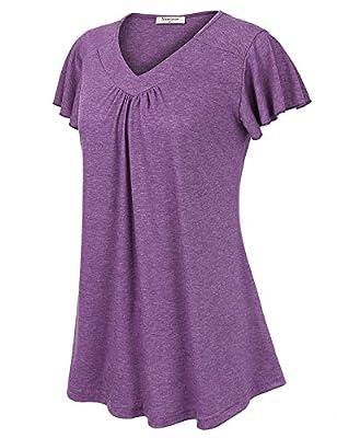Nomorer Women's Simple V Neck Short Sleeve Flutter Sleeve Top