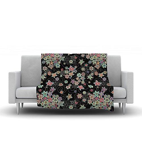 40 x 30 Kess InHouse Julia Grifol My Small Flowers Black Floral Fleece Throw Blanket