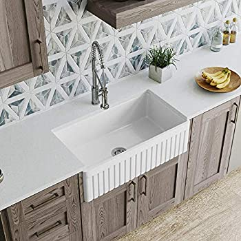 Image of Home Improvements MR Direct 411 Fireclay Single Bowl Farmhouse Kitchen Sink