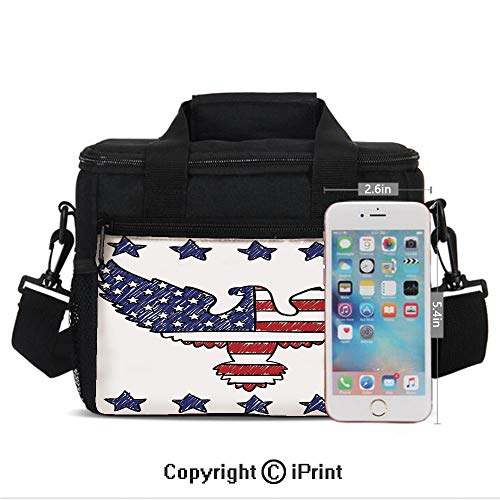 Girls Women Casual Lunch Bags Sketch Patriotic Bald Eagle National Icon Majestic Emblem Symbolic Image Print Lunch Box Lightweight Portable Lunch Holder Bento Cooler Bag For Work School,Red Blue - Eagle Flight Majestic