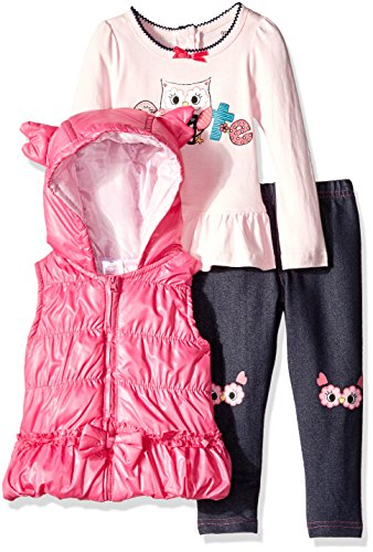 Nannette Little Girls' Toddler 3 Piece Cute Owl Vest Set with Costume Vest and Knee Patch, Pink, 2T -