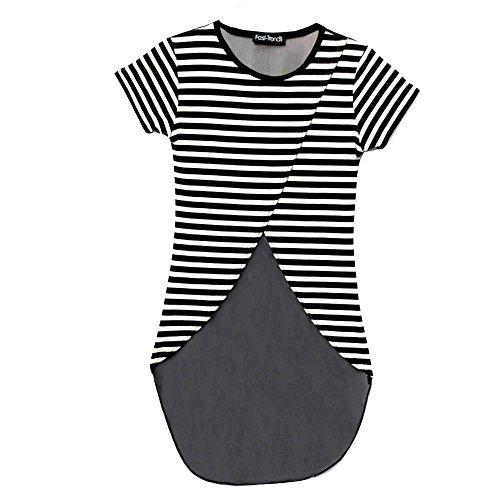 d272f28892 Miss Vanilla Kids Girls Clack n White Stripe Asymmetric Crop Top With Mesh  Net Back Age 7-14 Years (11-12 Years, Black Stripe)