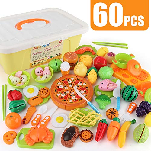 JoyGrow Play Food Toys, Cutting Food Pretend Kitchen Playset with Storage Box Fun Cutting Pizza Fruits Vegetable Hamburger Education Learning Toys Gift for Girls and Boys (60pcs)