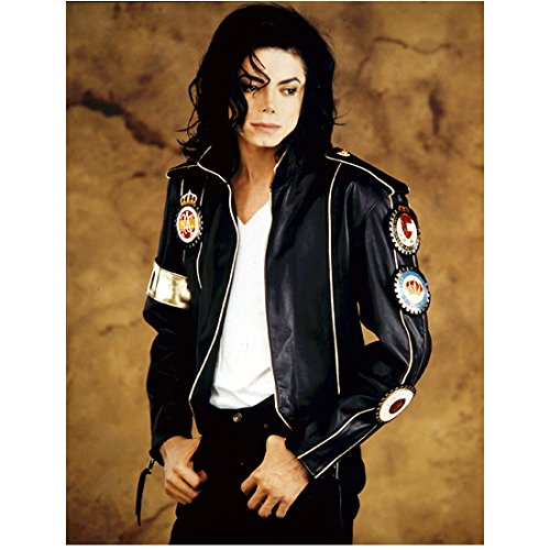 Michael Jackson 8x10 Photo Black Satin Jacket Over White Tee Shirt Patches Down Left Arm of Jacket Thumbs in Pockets kn