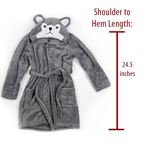 Hooded Fleece Robes for Toddlers Keeps Kids Cozy! Toddler Robe Calms Children! Cute and Warm Kids' Robe for Boys and Girls (Gray Wolf) by Happy Healthy Parent (Image #5)