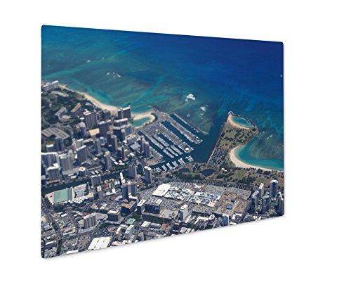 Ashley Giclee Metal Panel Print, Waikiki Ala Wai Canal Ala Moana Mall Park And Ocean, Wall Art Decor, Floating Frame, Ready to Hang 16x20, - Malls Waikiki