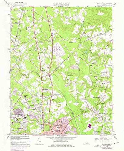 Yellow Tavern VA topo map, 1:24000 Scale, 7.5 X 7.5 Minute, Historical, 1963, Updated 1975, 26.9 x 22 in - Polypropylene ()