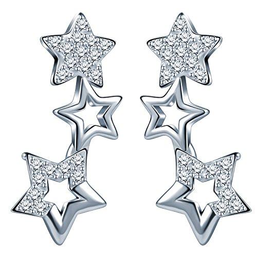 Infinite U – Pendientes de Plata de Ley 925 con Circonitas Cúbicas y Diseño de Pequeñas Estrellas a lo Largo de la Oreja…