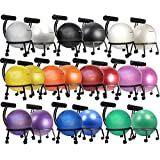 "Isokinetics Inc. Brand Fitness Ball Chair - Metal Frame - 2 Frame Finishes - Exclusive: 60mm (2.5"") Wheels - Multiple Ball Color Choices - Adjustable Base and Back Height"