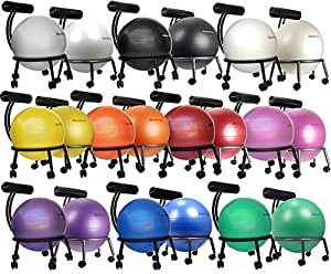 """Isokinetics Inc. Brand Adjustable Fitness Ball Chair - Silver Flake on Black Metal Frame Finish - Exclusive: 60mm (2.5"""") Wheels - Adjustable Base and Back Height - with Black 55cm Ball and a Pump"""