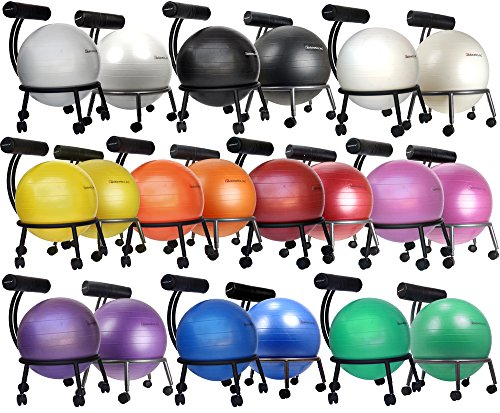 Isokinetics Inc. Brand Adjustable Fitness Ball Chair - Silver Flake on Black Metal Frame Finish - Exclusive: 60mm (2.5