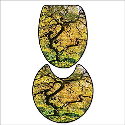 The Floor 2-Piece Bathroom Mat Set Shadows of a Large Maple Tree along with River with Sunlight Fall Season Nature Theme for Green and Yellow. Extra Soft Memory Foam Combo - Rug 16