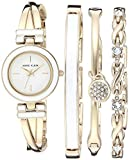 Anne Klein Women's Bangle Watch and Swarovski Crystal Accented Bracelet Set