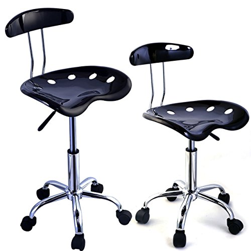 2PC Adjustable Bar Stools ABS Tractor Seat Swivel Chrome Home Office Kitchen Breakfast Black #654 (Stools Bar Sale Target)