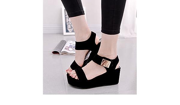 fff89f450e25f1 Amazon.com   2016 Summer new Korean fashion ladies Sandals platform thick-soled  high heel wedges fish Roman tidal shoes women s shoes