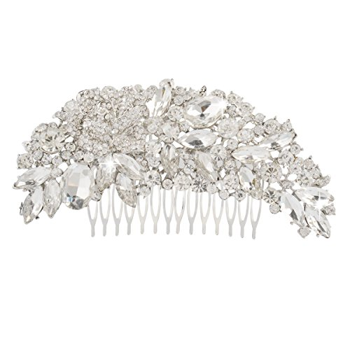 Gorgeous Bling (Jane Stone Bridal Silver Tone RhineStone Flower Hair Comb Gorgeous Bling Clear Austrian Crystal Wedding Jewelry for Women Elegant 4.72