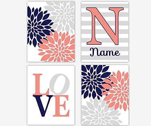 navy blue and coral wall art - 8