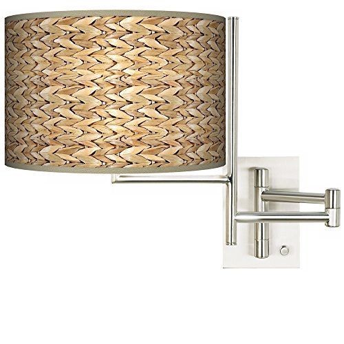 Plug-in Swing Arm Wall Light with Seagrass Pattern Shade ()