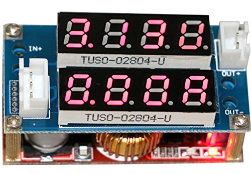 Yeeco DC-DC Buck Converter Voltage Volt Regulator 5-30V to 0.8-29V Step Down Power Supply Module Transformer Min Constant Adjustable Dual LED Display Red LED Ammeter Voltmeter Amp/Volt Current Volt Gauge Tester - 30v Red Light