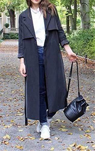 Pureed Mode Vent Uni Manches Femme Jeune Ceinture Poches Trench Longues Latérales Manteaux Coupe Manteau Avec Schwarz Manche Revers Hiver A8qrZxwA