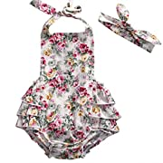 Baby Girl Vivid Floral Lace Dress Backless Halter Ruffled Romper Outfits with Headband (0-6 M, White+Flower)