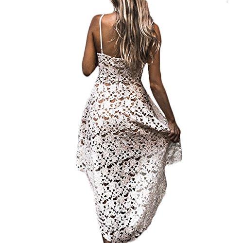 Vestido Swing De Mujer Sin mangas cuello V Vestido De Cóctel De Encaje Hueco De Verano Vestido Irregular Del Oscilación Cóctel Blanco