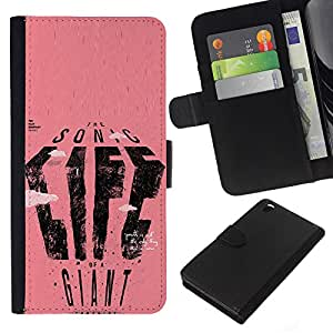 iBinBang / Flip Funda de Cuero Case Cover - Texto del cartel Vida gigante de Sonic Rosa Arte - HTC DESIRE 816