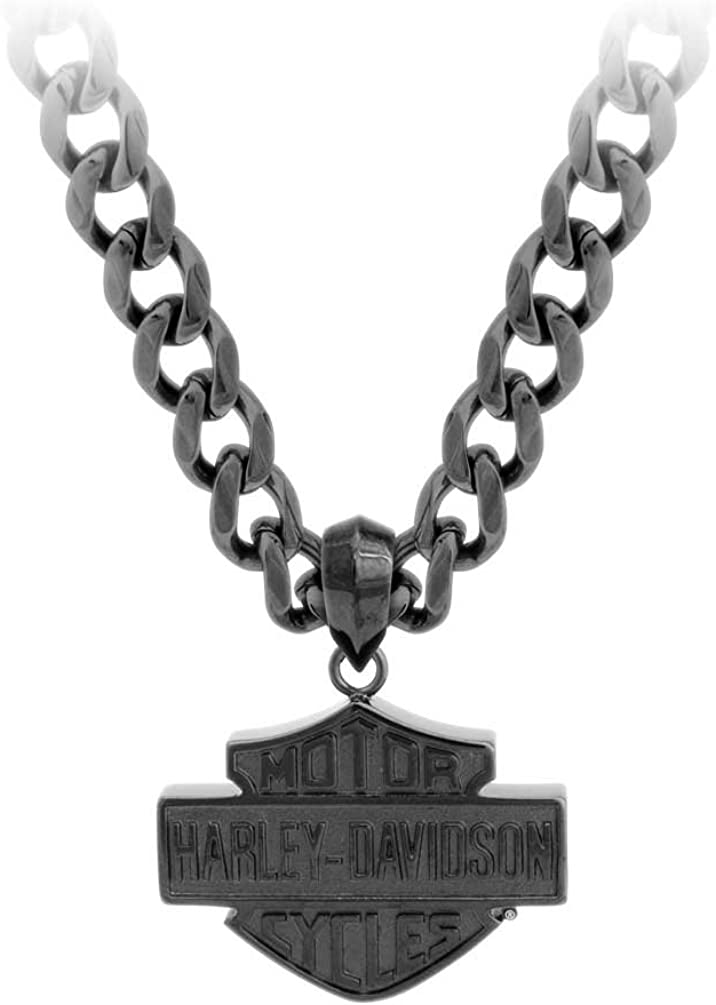 HARLEY-DAVIDSON SILVER TONE LARGE BAR /& SHIELD NECKLACE PENDANT JEWELRY NEW