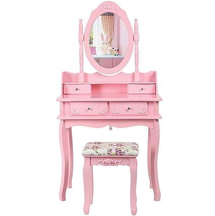 Amazon Com Ailove White Dressing Table Set Mirror Stool Girls