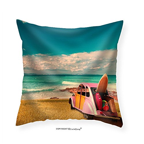 VROSELV Custom Cotton Linen Pillowcase Vintage Sunny Day and Holidays Car in Formentera Beach Spain - Fabric Home Decor 22''x22'' by VROSELV