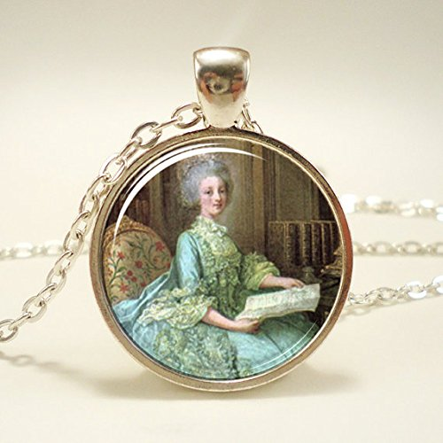 - Marie Antoinette Necklace, Art Pendant Charm With Necklace Chain, Silver Plate