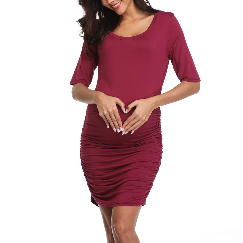Joweechy Womens Maternity Bodycon Ruched Side Dress Half Sleeve Dress for Daily Wearing Or Cocktail Party