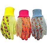 G & F 1852-3 Women Soft Jersey Garden Gloves & Work Gloves, 3-Pairs Green/Pink/Blue per Pack