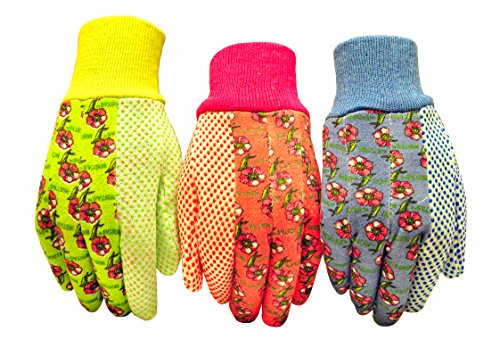 G & F 1852-3 Women Soft Jersey Garden Gloves, Women Work Gloves, 3-Pairs Green/Pink/Blue per -