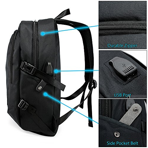 Oct17 Business Laptop Backpack, Slim Anti Theft Computer Bag, Water-resistent College School Backpack with Headphone Port, Eco-friendly Travel Shoulder Bag with USB Charging Port Fits UNDER 17 - Black by Oct17 (Image #2)