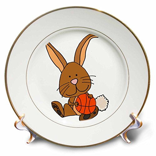 3dRose All Smiles Art Sports and Hobbies - Funny Funky Brown Bunny rabbit Playing basketball Cartoon - 8 inch Porcelain Plate (cp_270089_1)