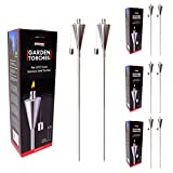 8 Pc Garden Torches 65 Inch Stainless Steel Outdoor Decor Cone Shape Torch Set