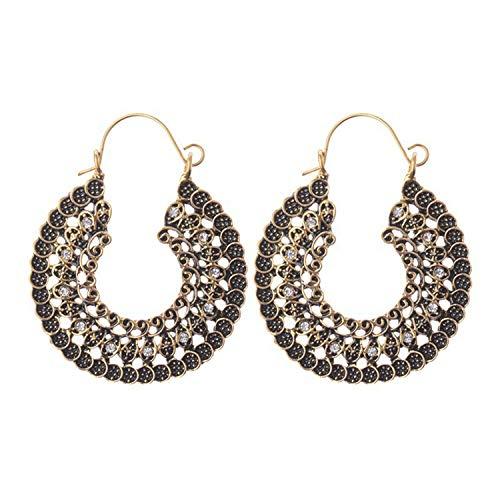 Crazy Feng Women Vintage Earrings 2018 Ethnic Hollow Flower Gypsy Dangle Earrings Indian Jewelry Trible Earring Accessories,Gold (Lil Luxuries Whirlpool)