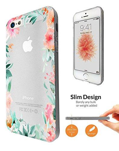 C0613 - Cool Beautiful Floral Flower Tropical Boarder Design iphone SE 2016 / iphone 5 5S Fashion Trend Leichtgewicht Hülle Ultra Slim 0.3MM Kunststoff Kanten und Rückseite Protection Hülle - Clear